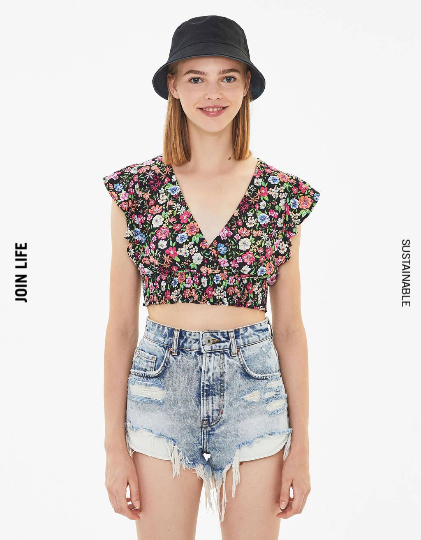 Bluza s cvetličnim potiskom
