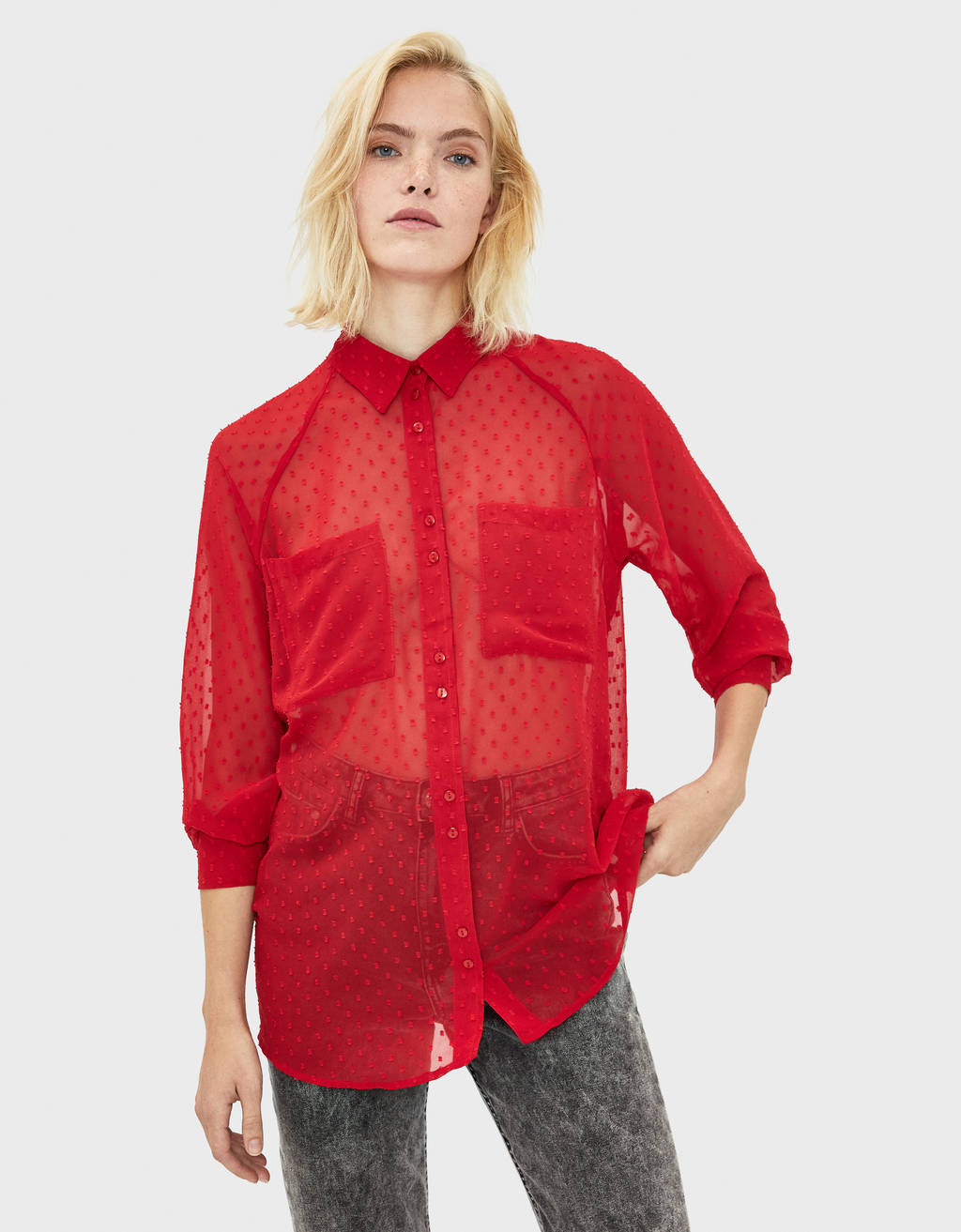 Shirt with dotted mesh