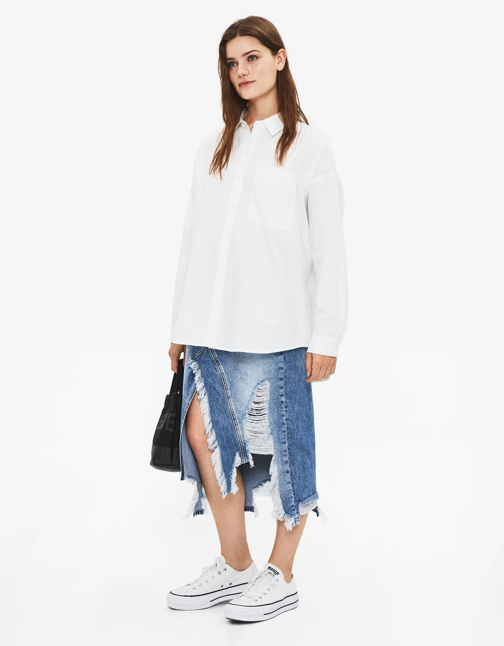 Oversized popeline blouse