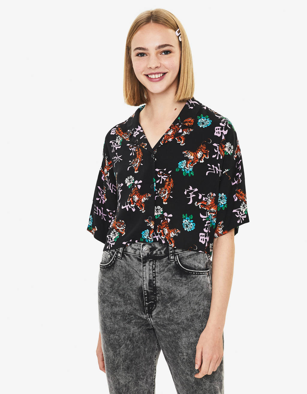Cropped printed shirt