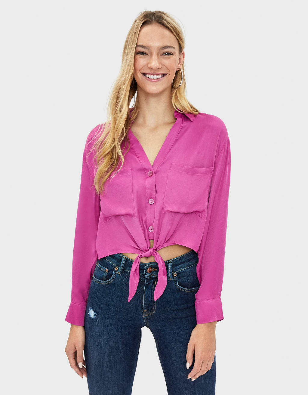 Satin shirt with knot