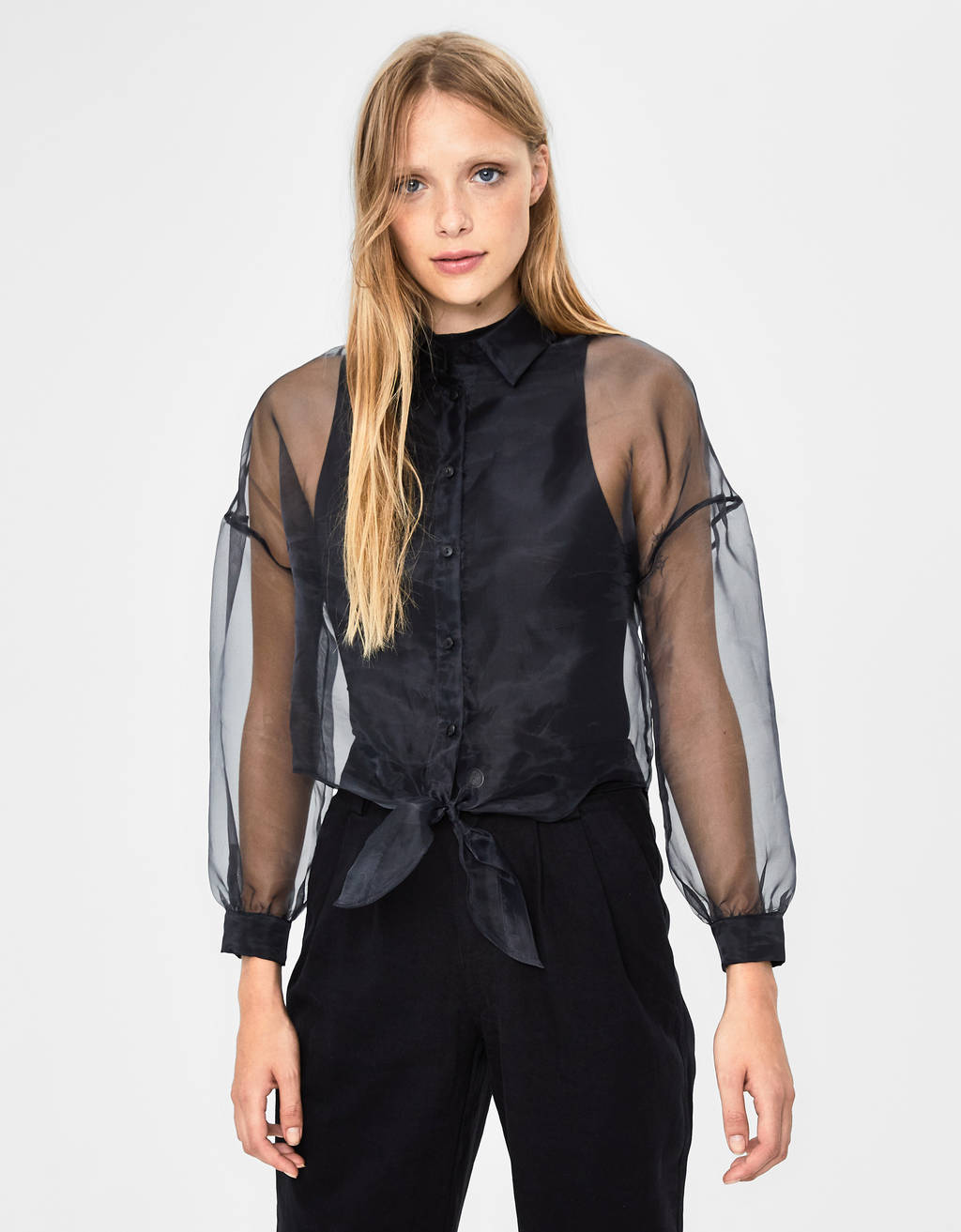 Cropped organza shirt with knot