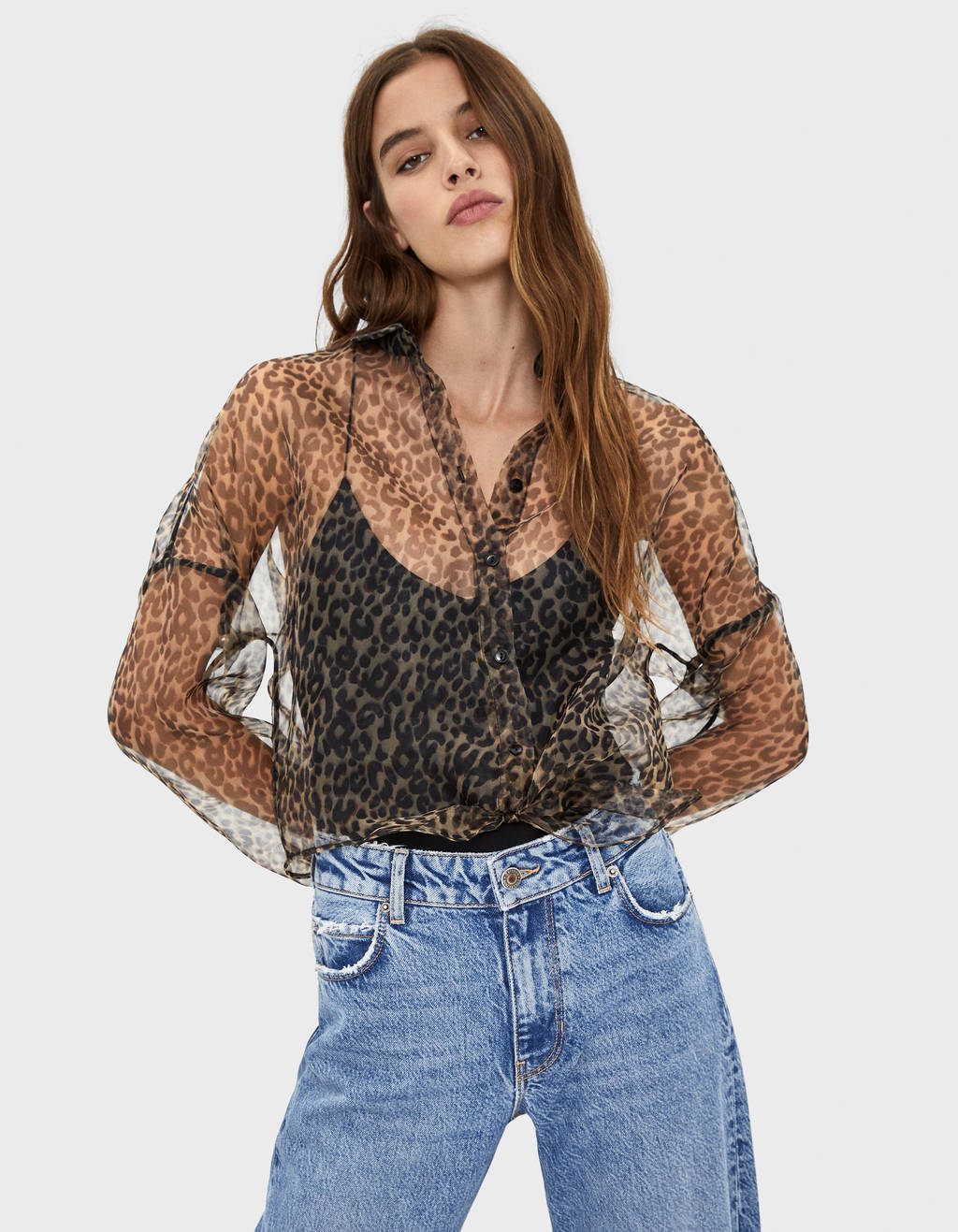 Leopard print shirt with sheer detail