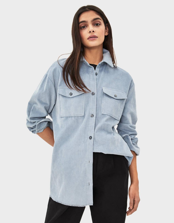 Рубашка из вельвета с поясом