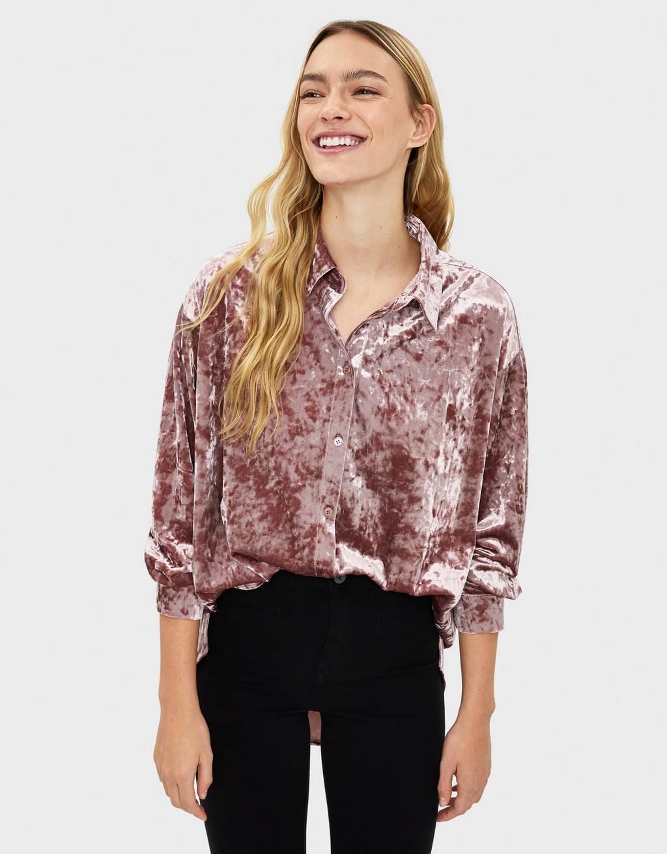 Long velvet shirt