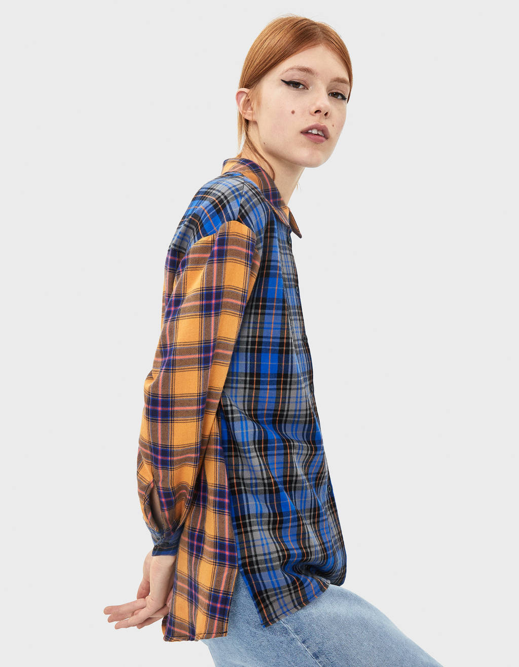 Two-tone checked shirt