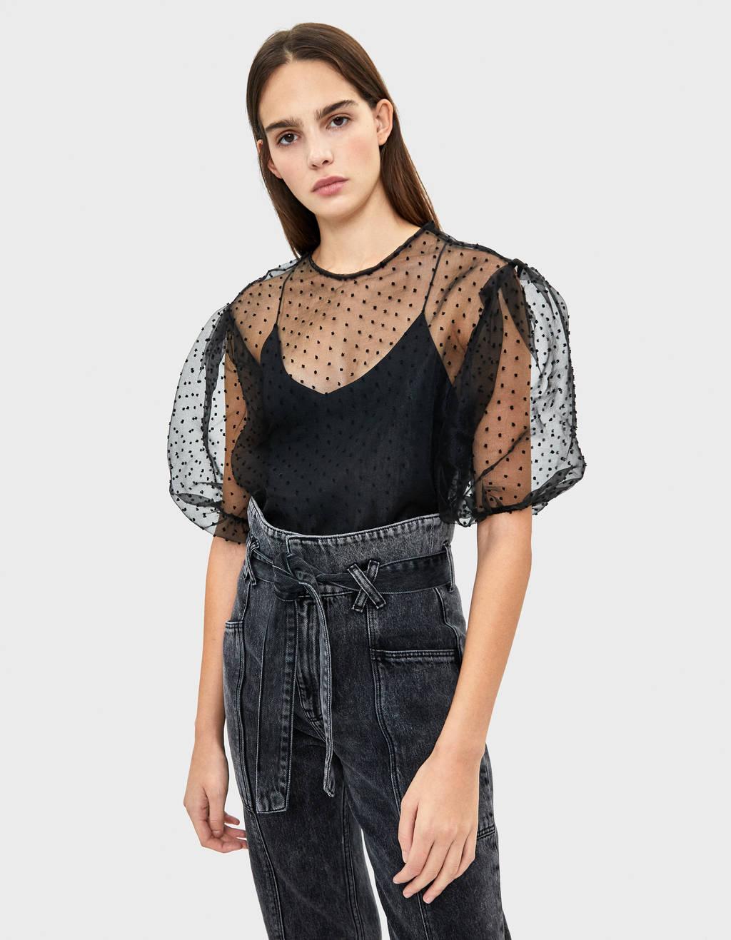 Organza polka dot blouse