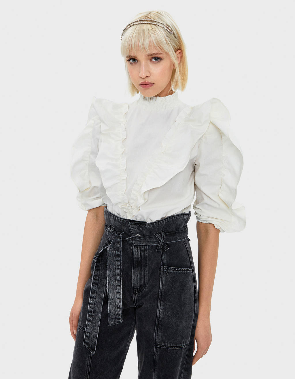 Poplin shirt with ruffle trims