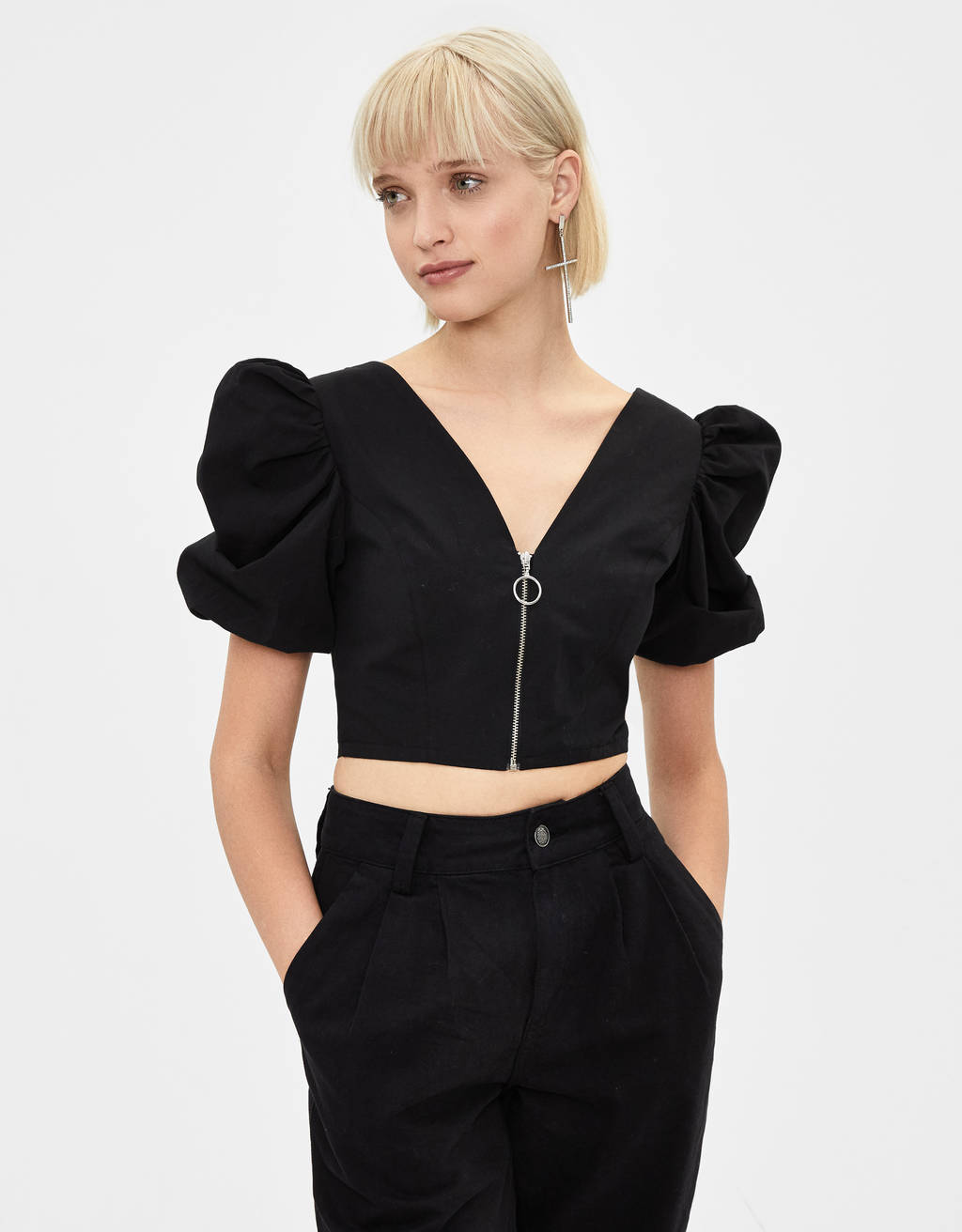 Blouse with poplin puff-ball sleeves