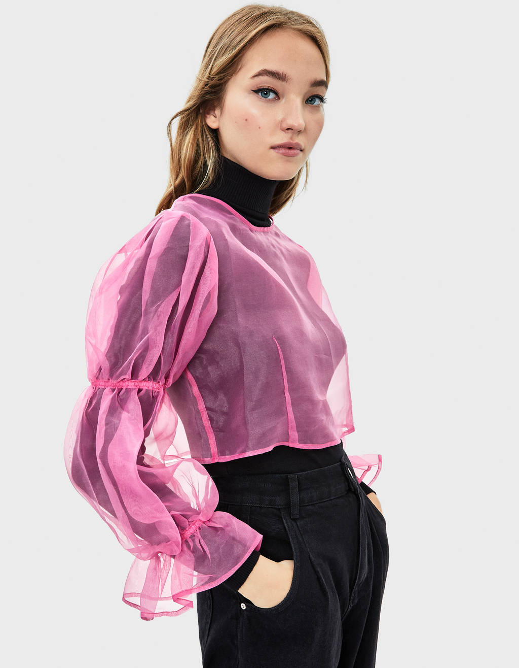 Organza gathered sleeve blouse