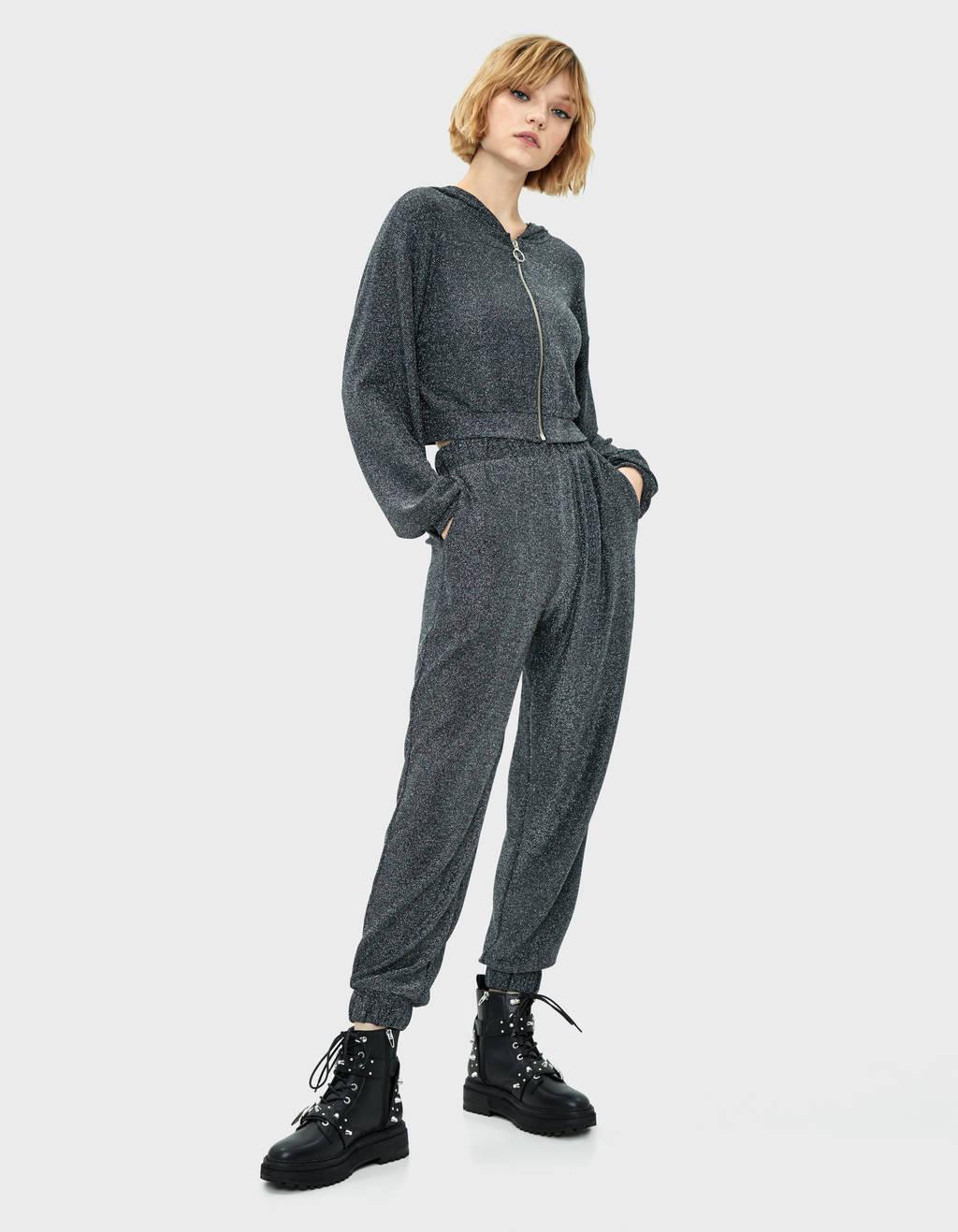 Metallic thread jogging trousers