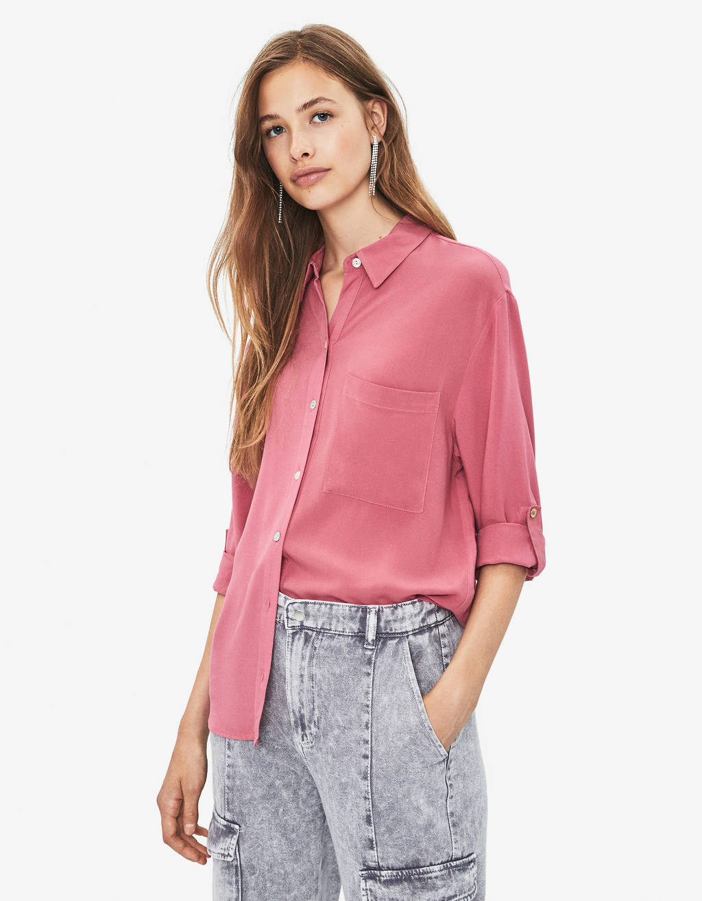 Shirt with roll-up sleeves
