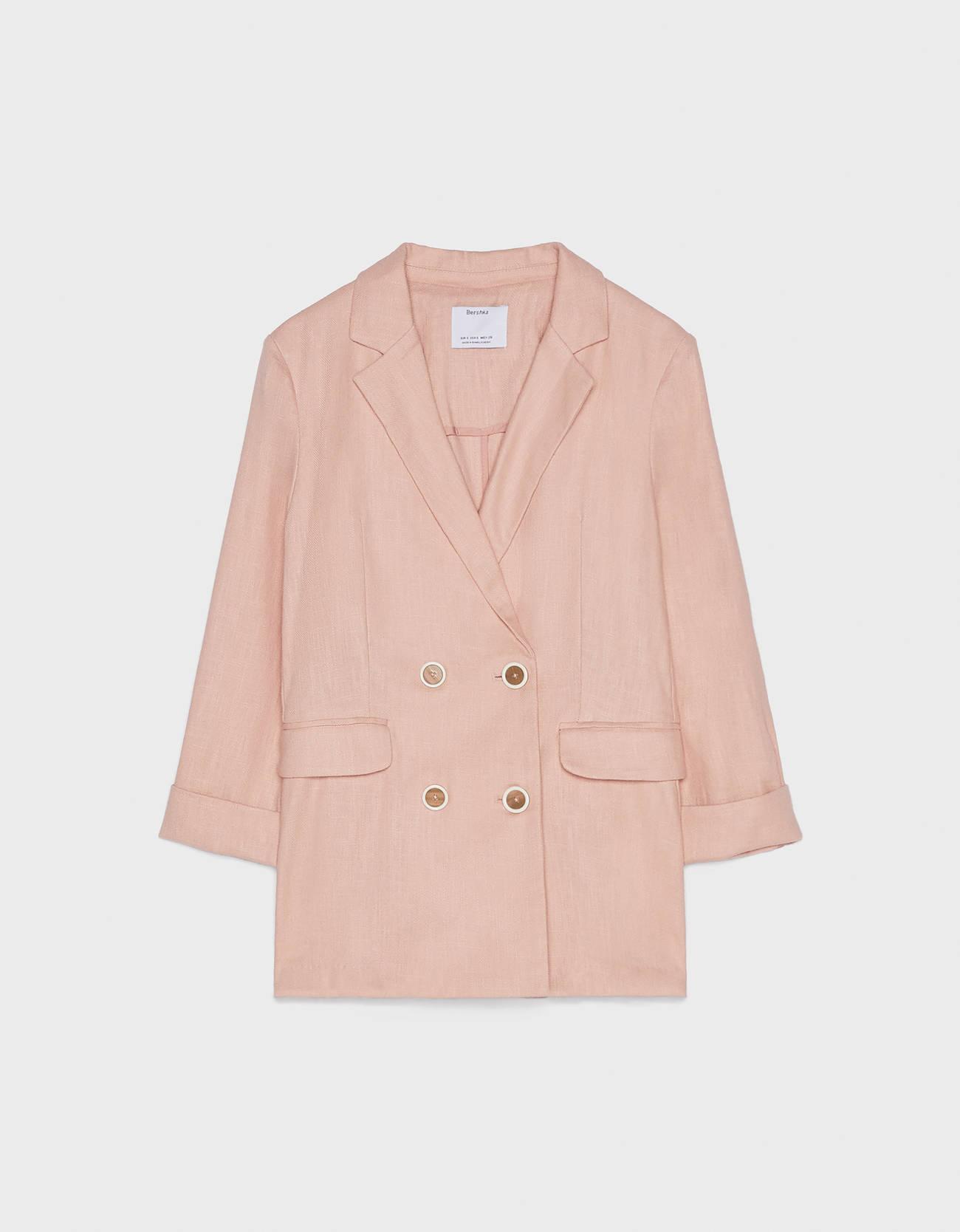 Пиджак изо льна с подворачиваемыми рукавами Розовый Bershka