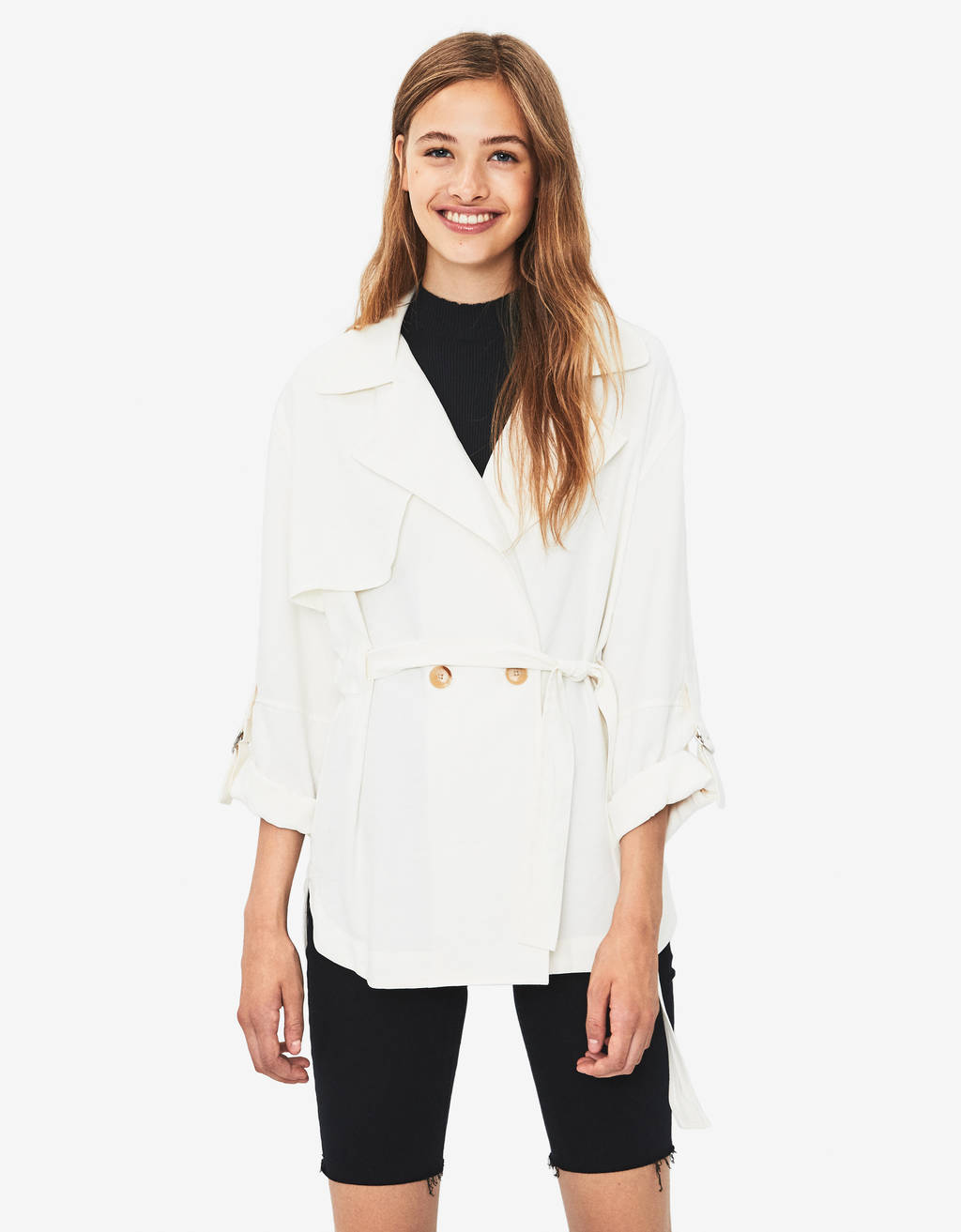 TENCEL® overshirt with tie belt