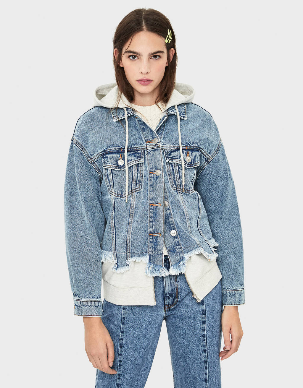 Denim jacket with contrast plush