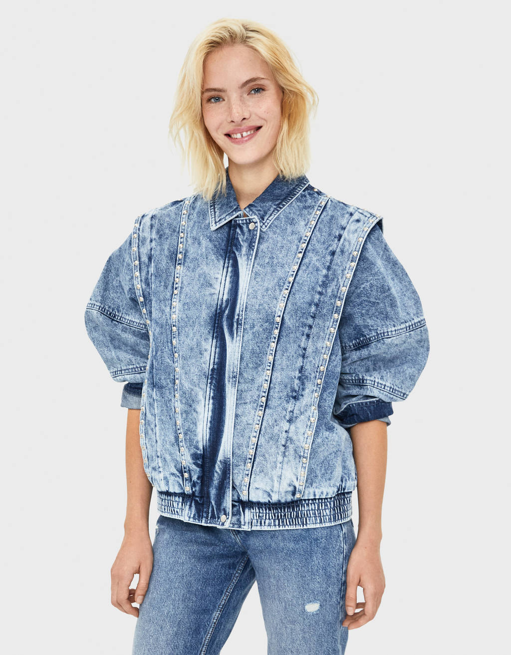 Denim jacket with beading