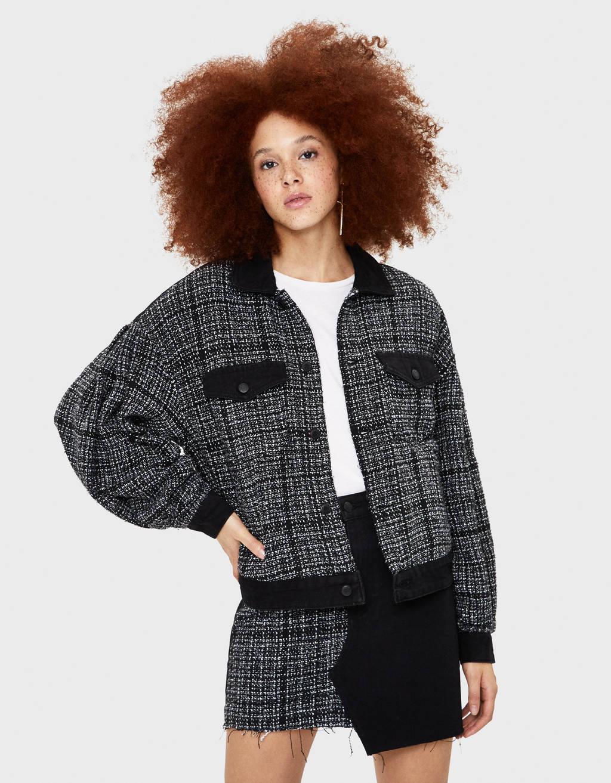 Tweed and denim jacket