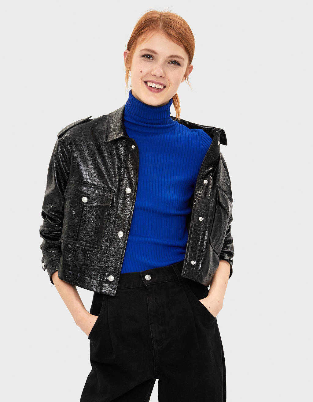 Faux leather mock croc jacket