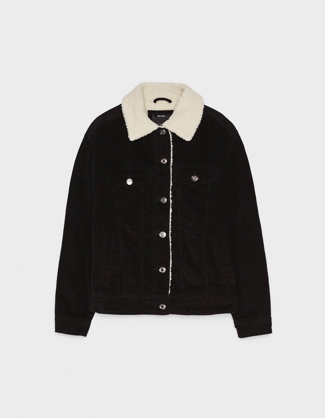 Куртка из вельвета с отделкой из искусственной овчины Черный Bershka