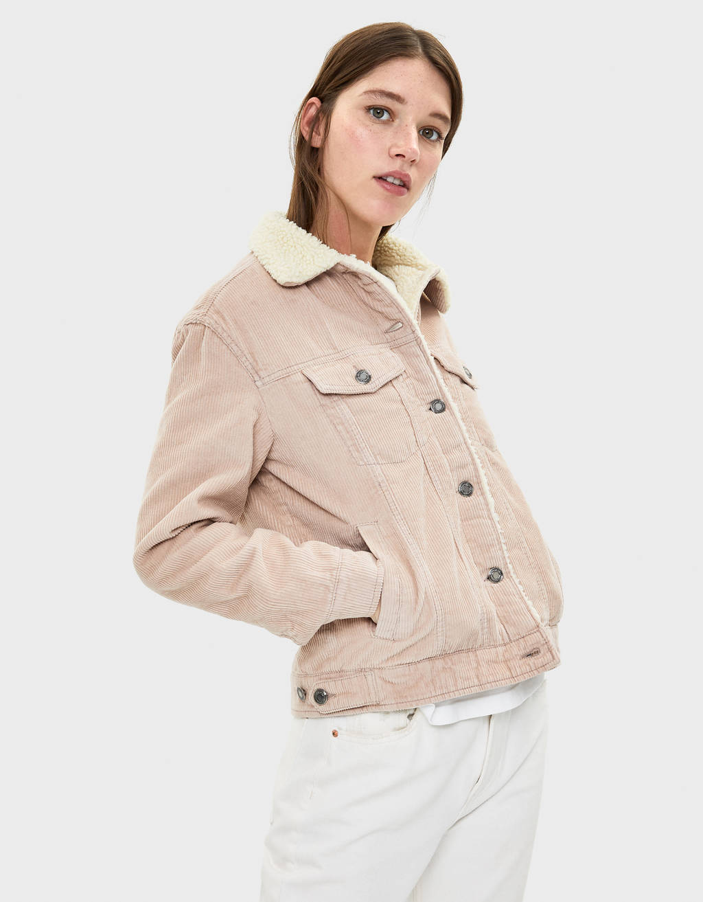 Corduroy jacket with faux shearling collar