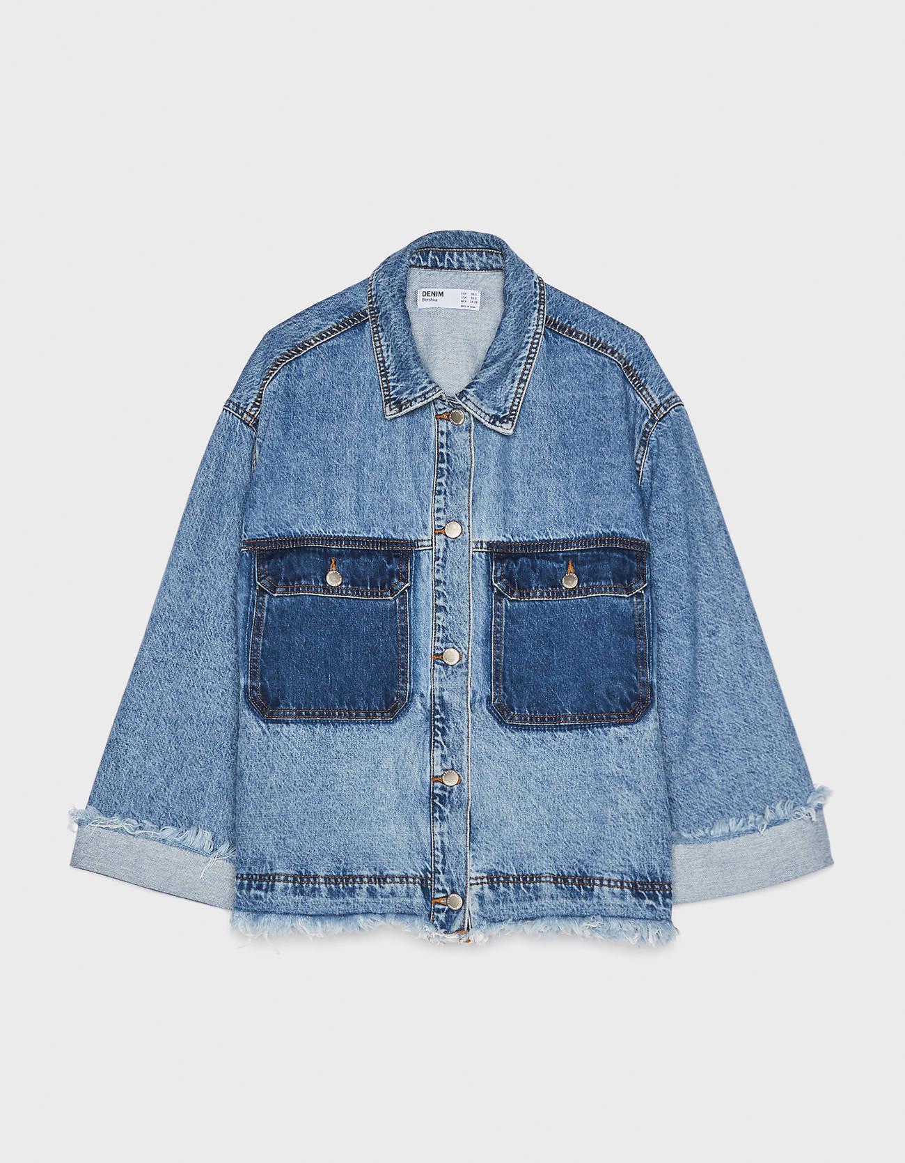 Джинсовая куртка Синий застиранный Bershka