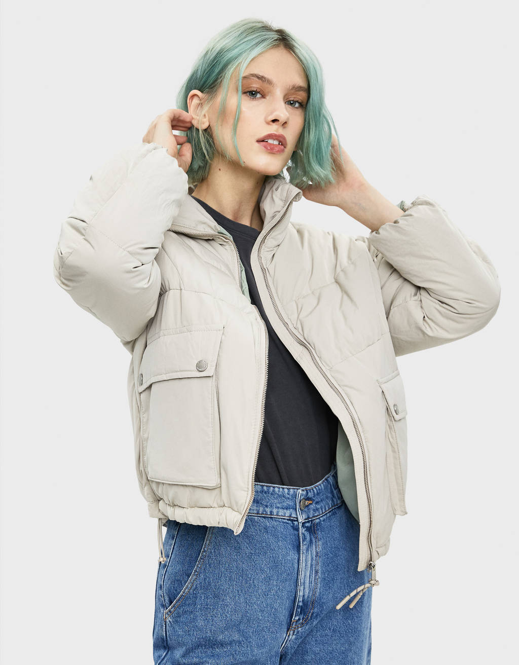 Puffer jacket with pockets