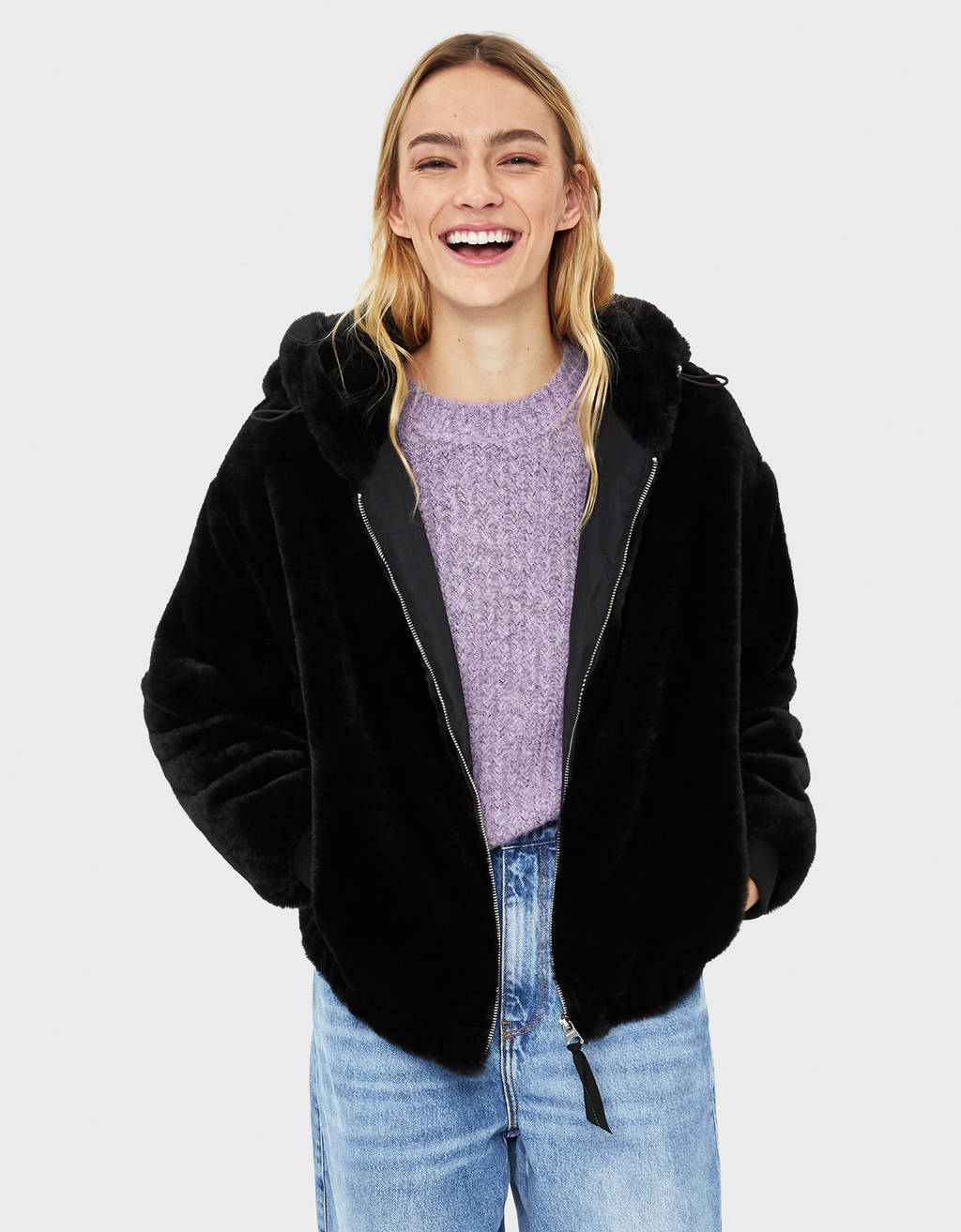Faux fur jacket with hood