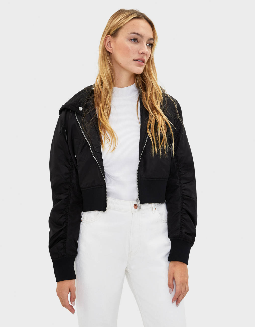 Bomber jacket with hood
