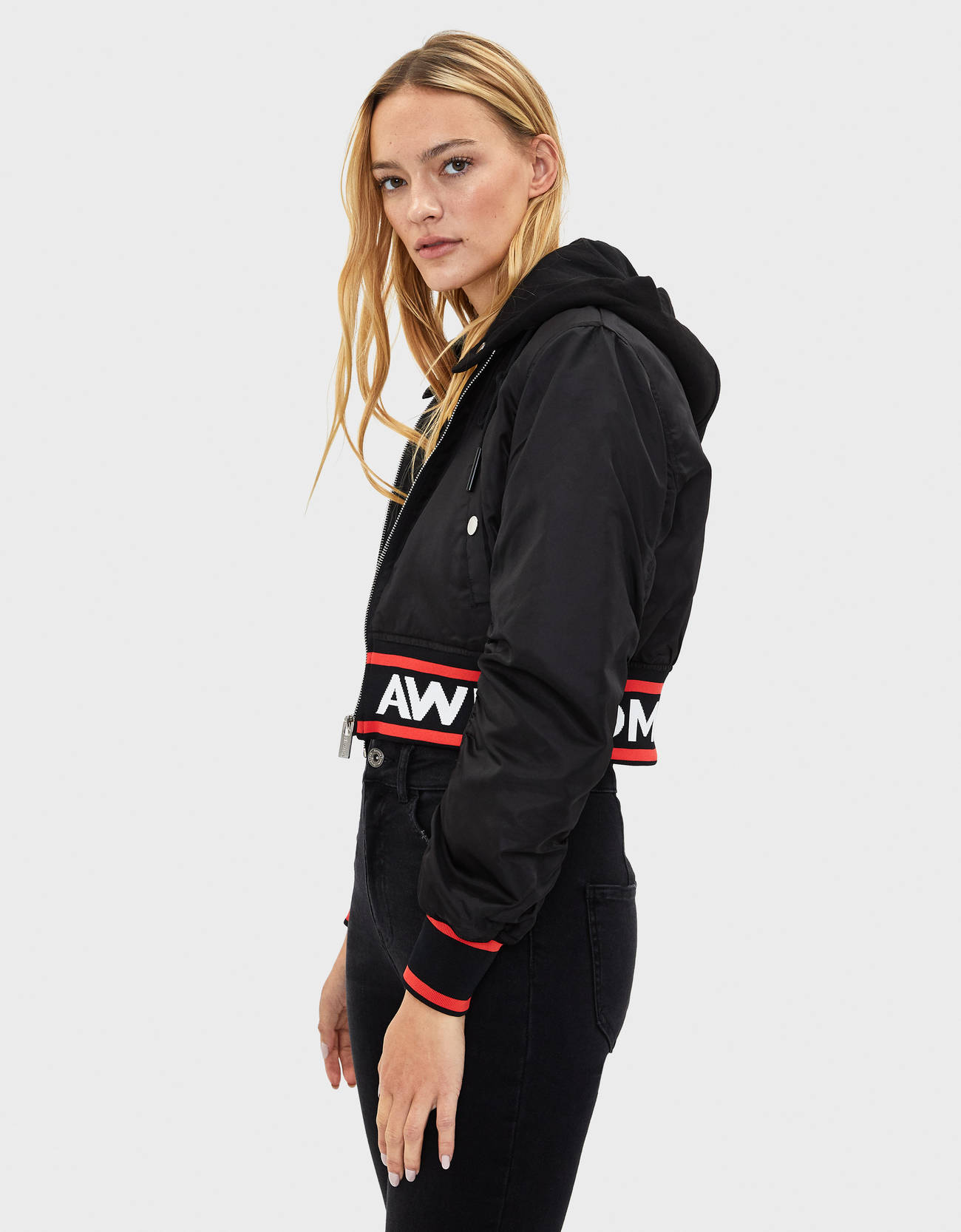 Куртка-бомбер с капюшоном Черный Bershka