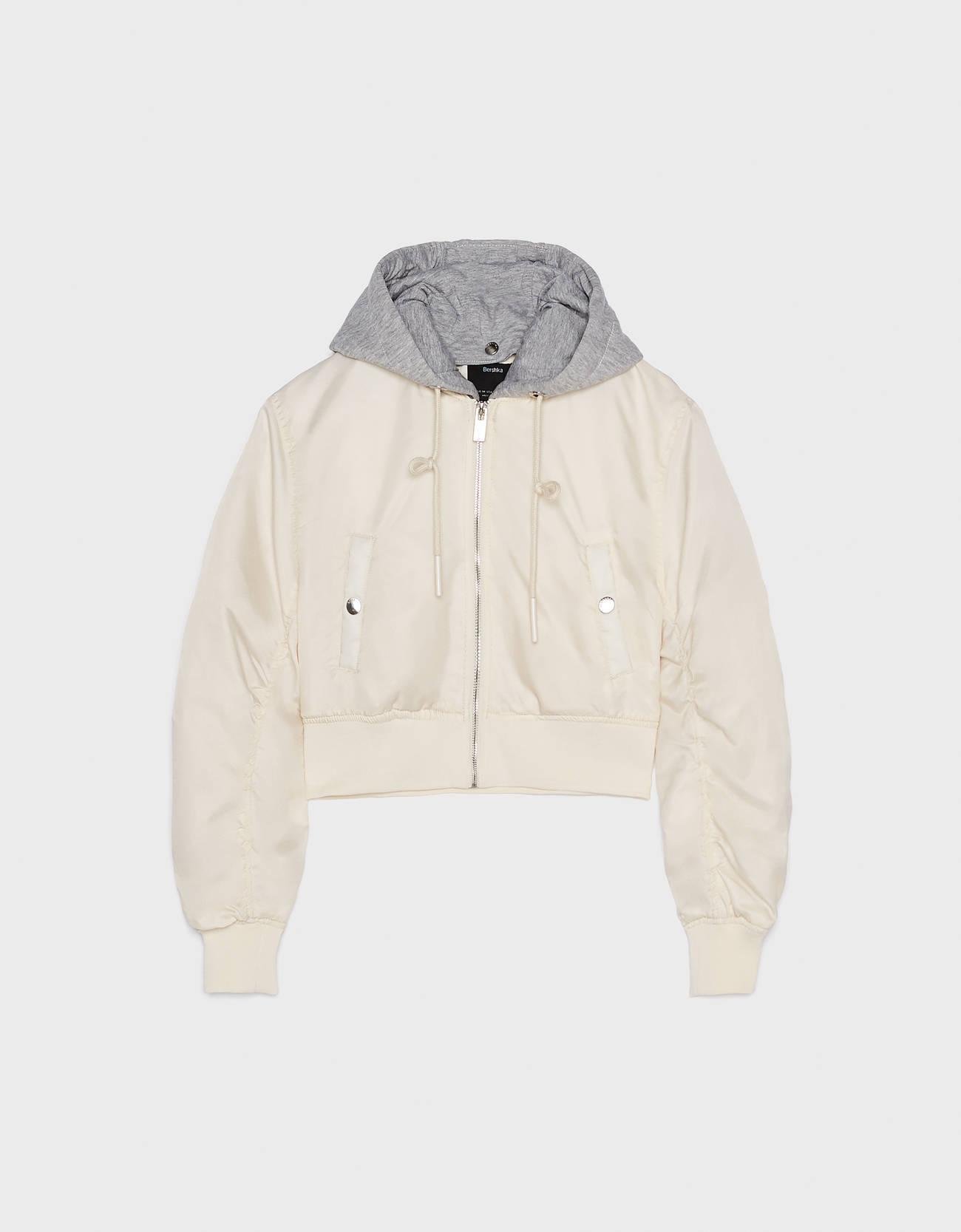 Куртка-бомбер с капюшоном Бежевый Bershka
