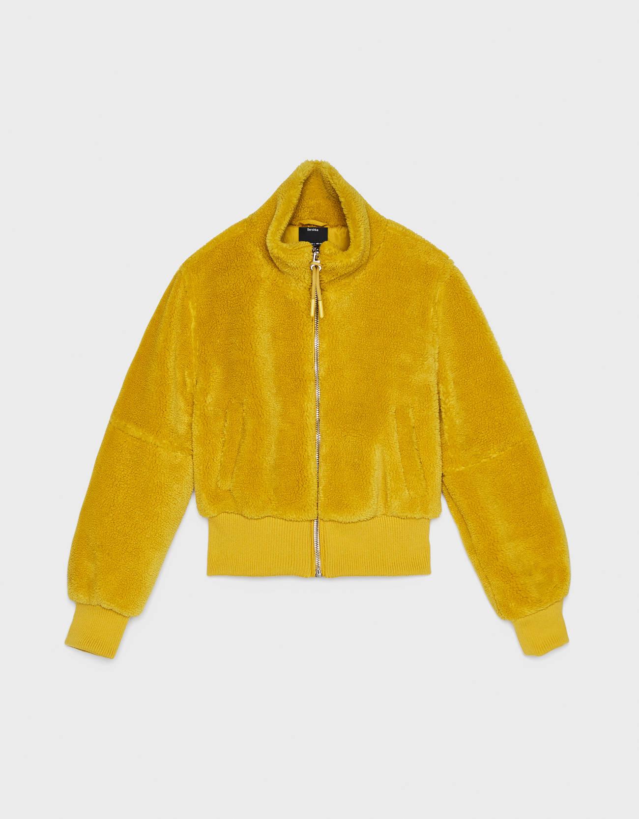 Куртка из искусственной овчины Зеленый Bershka