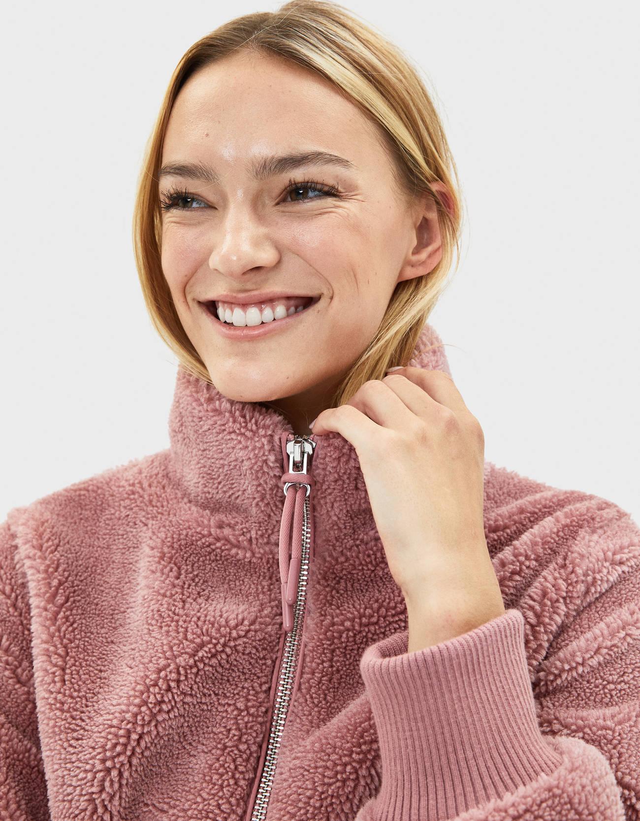 Куртка из искусственной овчины Розовый Bershka