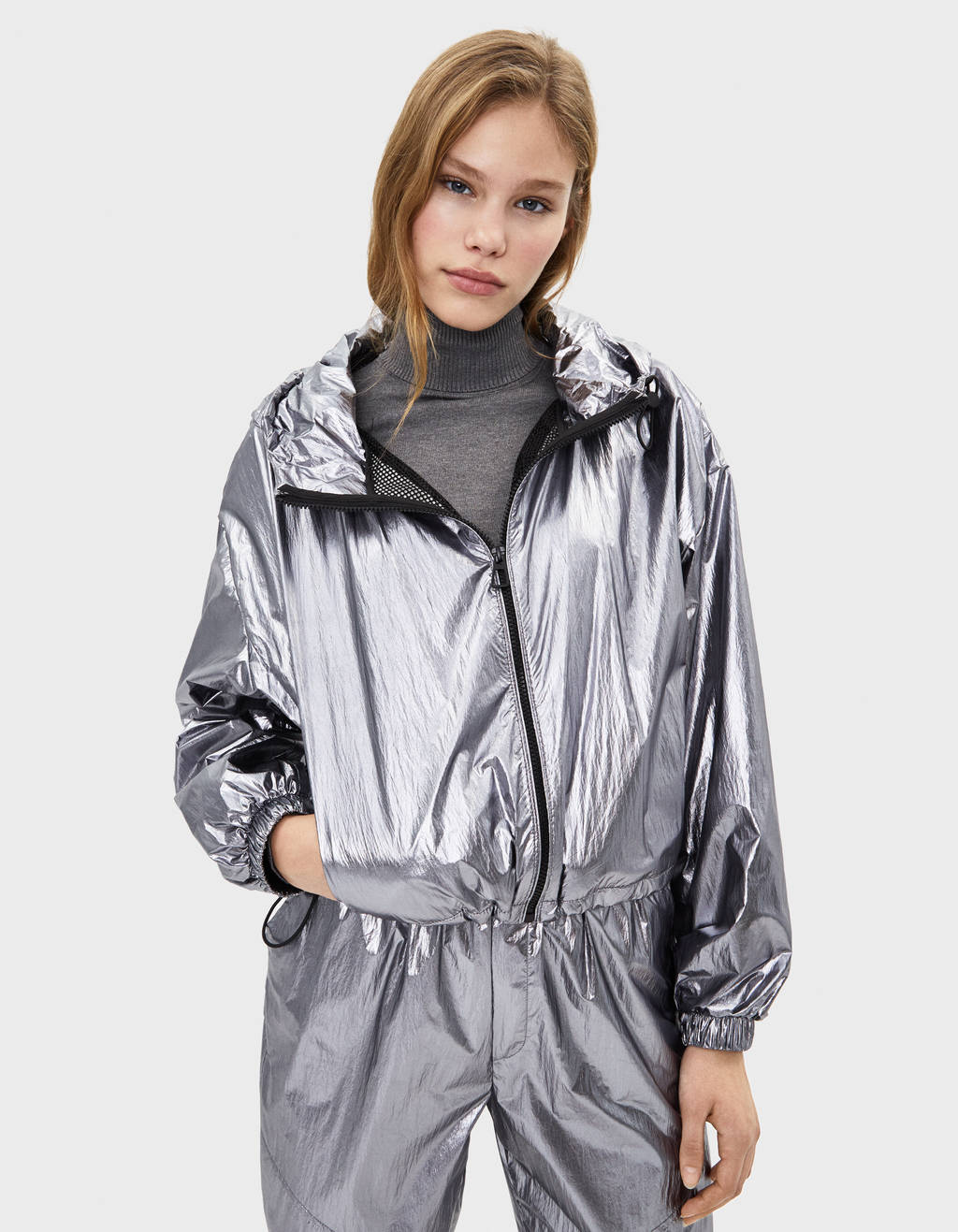 Metallic nylon jacket