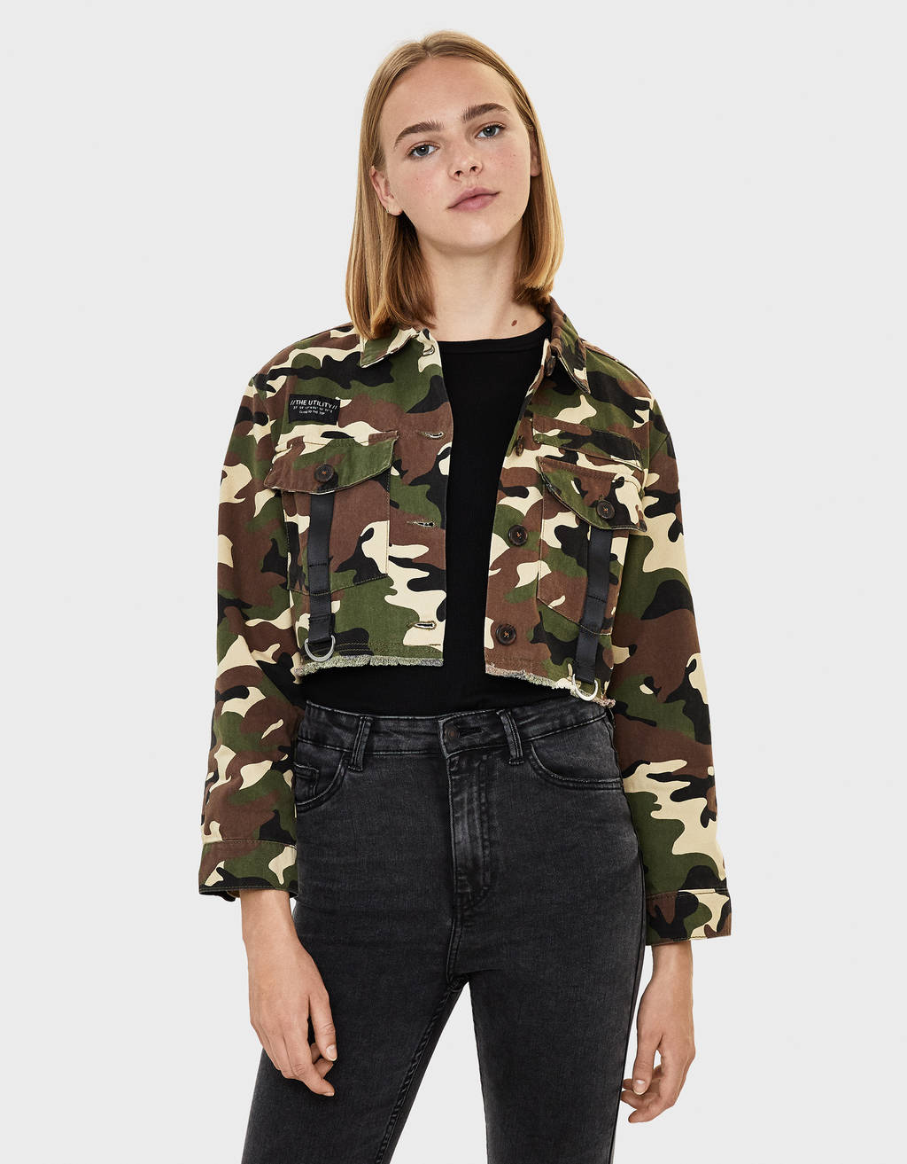 Camouflage print safari jacket