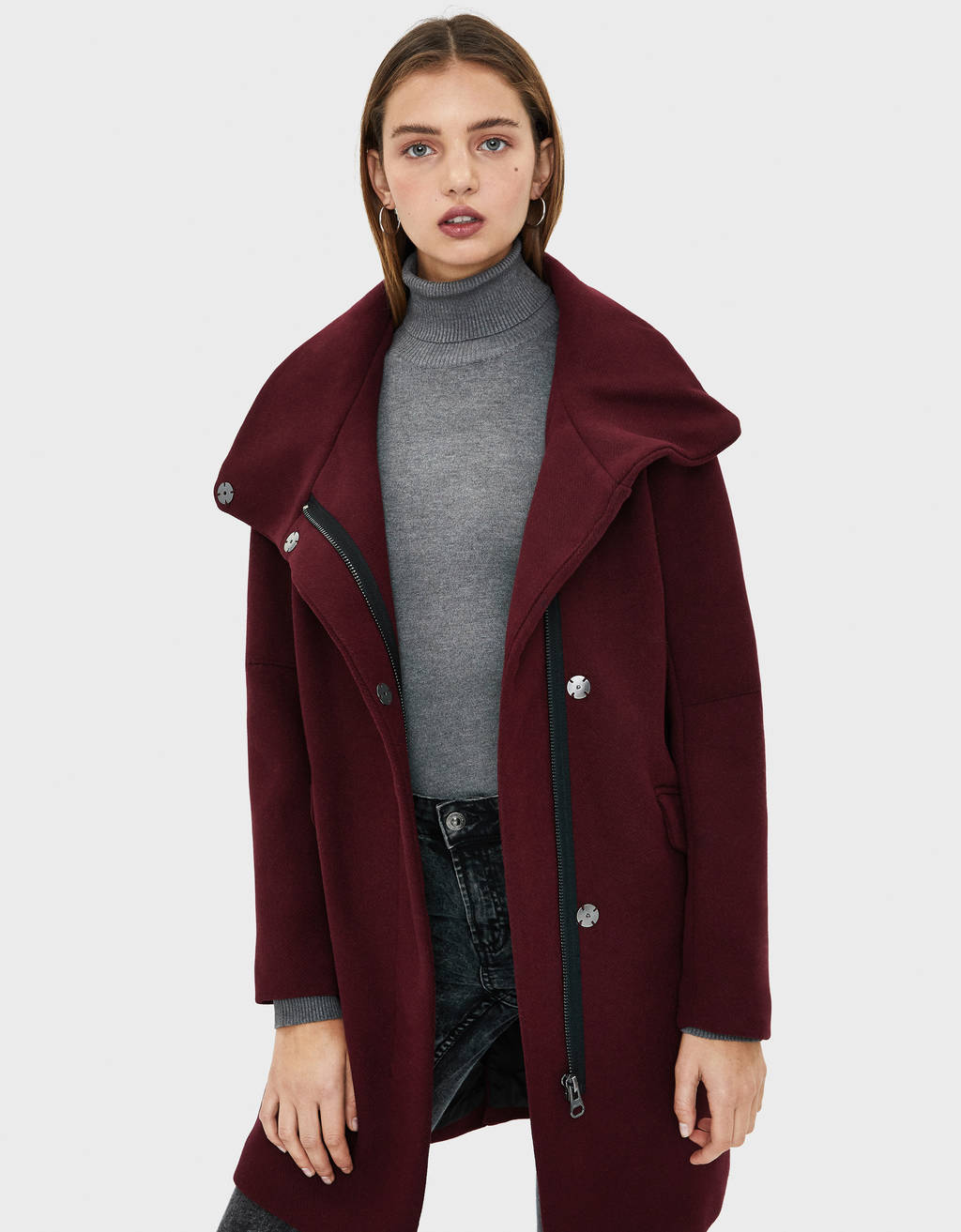 Wool coat with a funnel collar