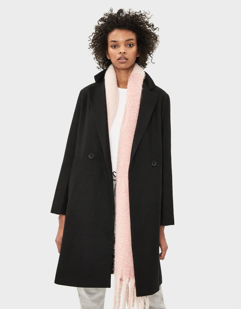 Casaco de lã com cinto