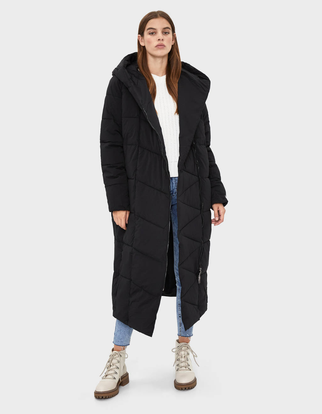 Hooded maxi puffer coat