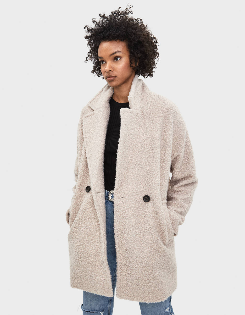 Manteau imitation peau de mouton