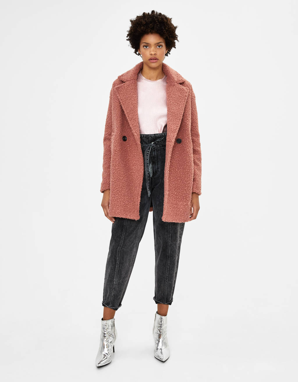 Oversized faux shearling coat