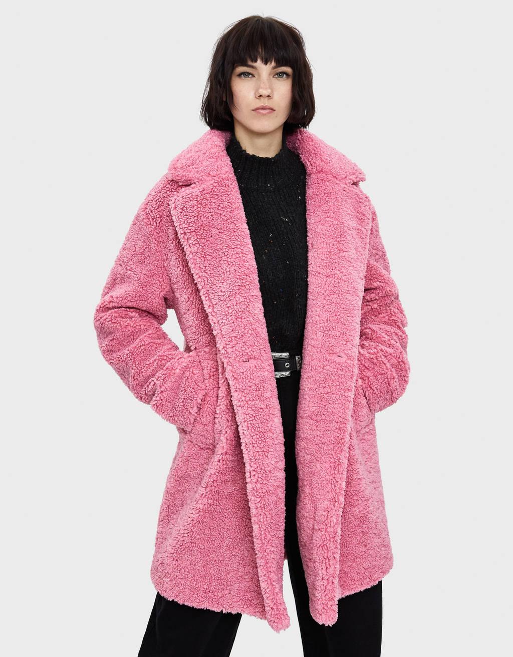 Bárányszőrme utánzatú kabát