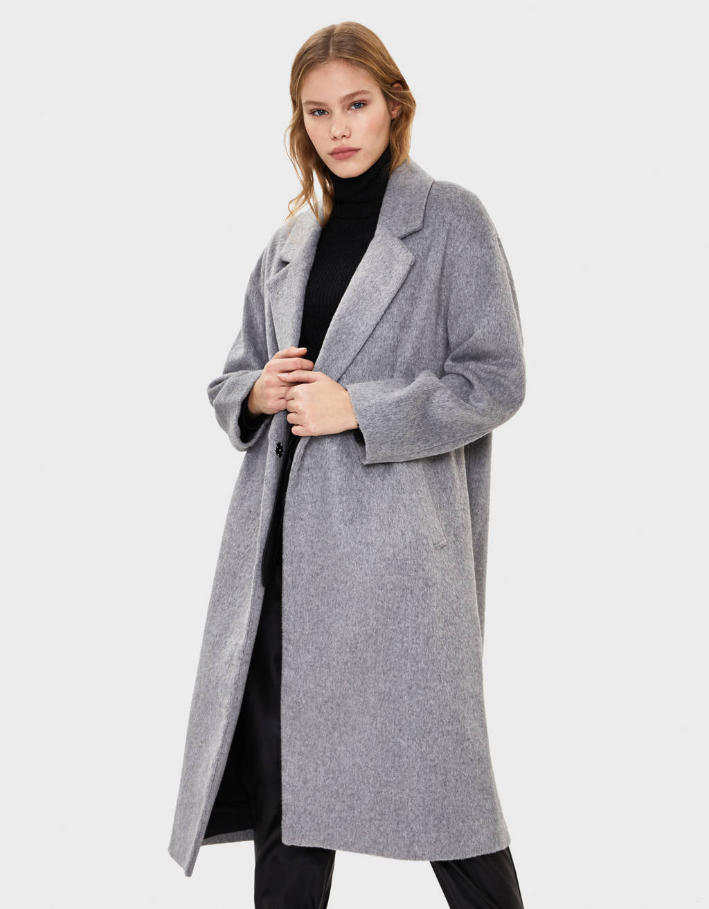 Long coat with drop shoulders