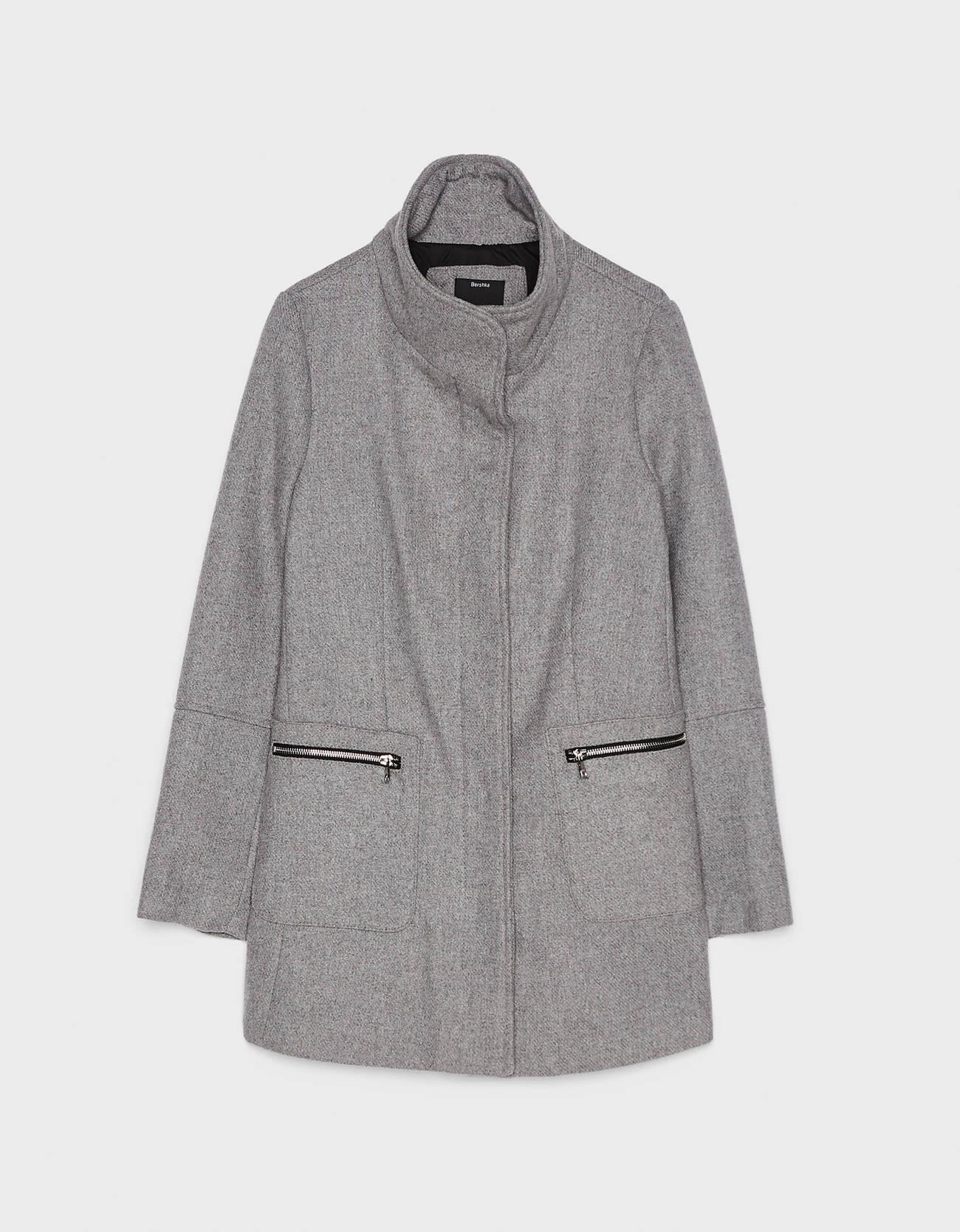 Пальто из сукна СЕРЫЙ Bershka