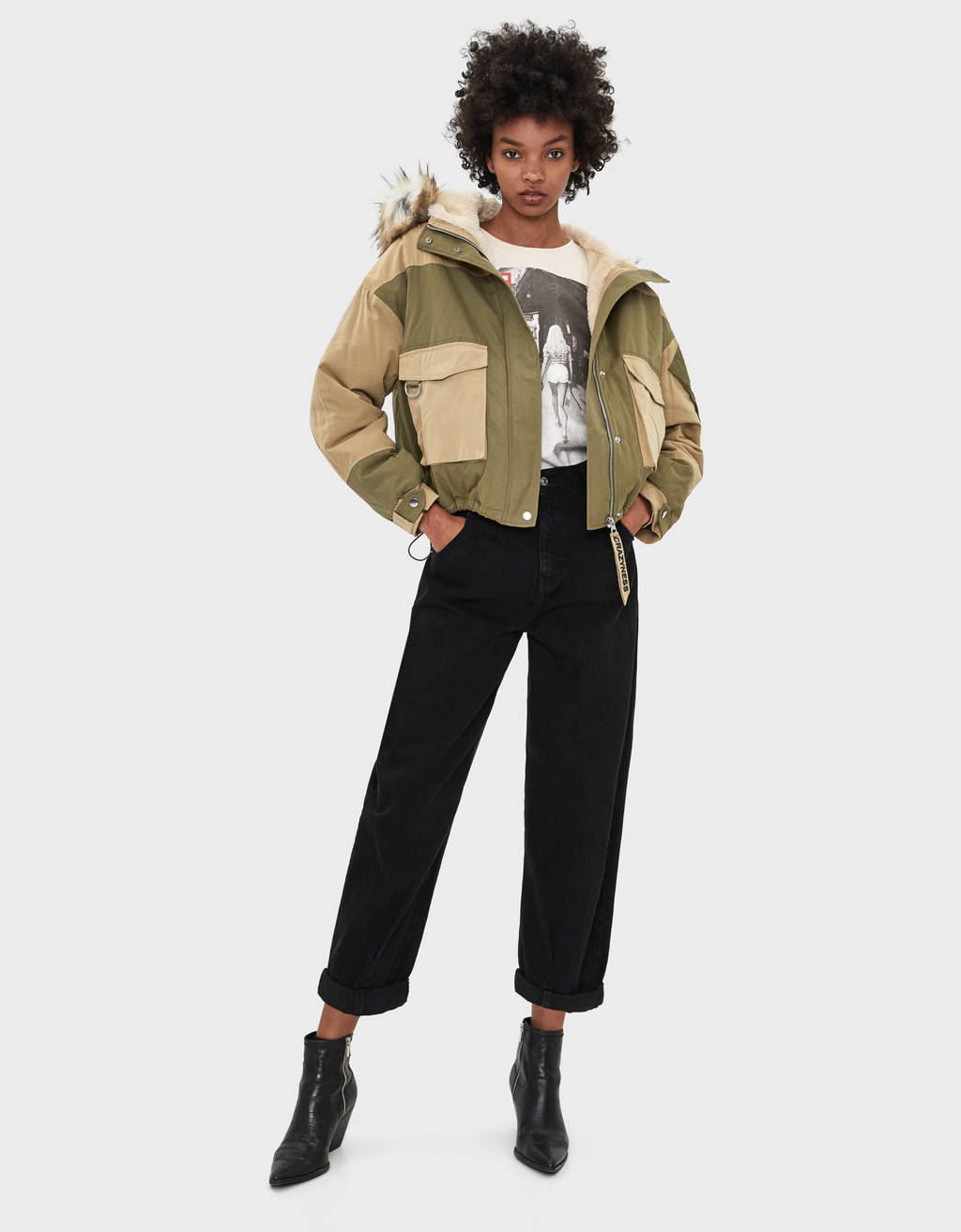 Cropped parka with faux fur hood trim