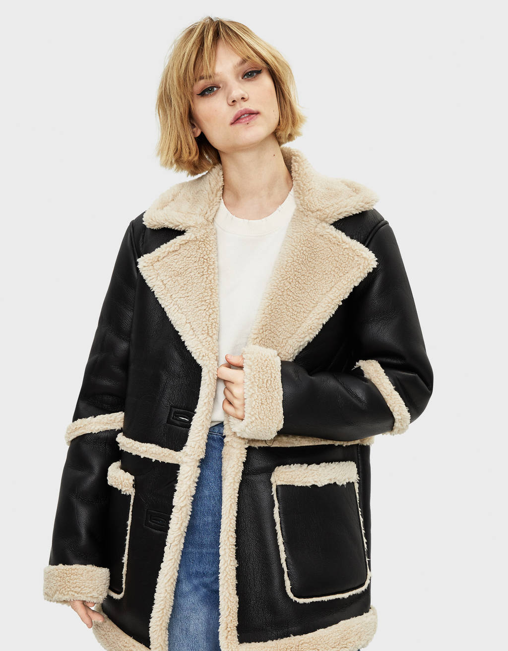 Faux leather coat with faux shearling
