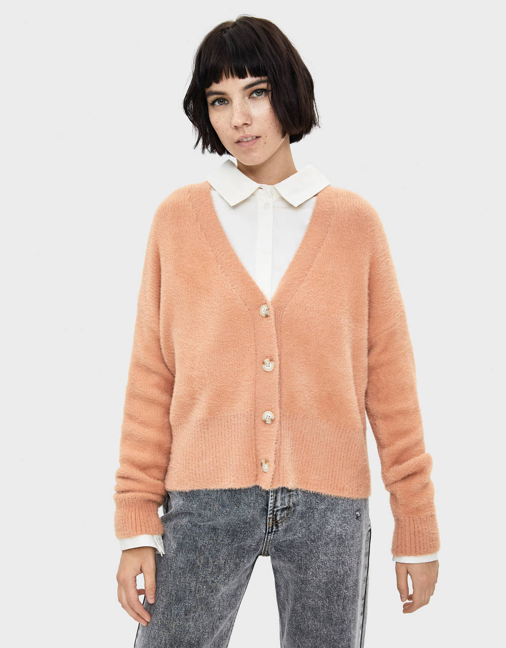 Fluffy button-up cardigan