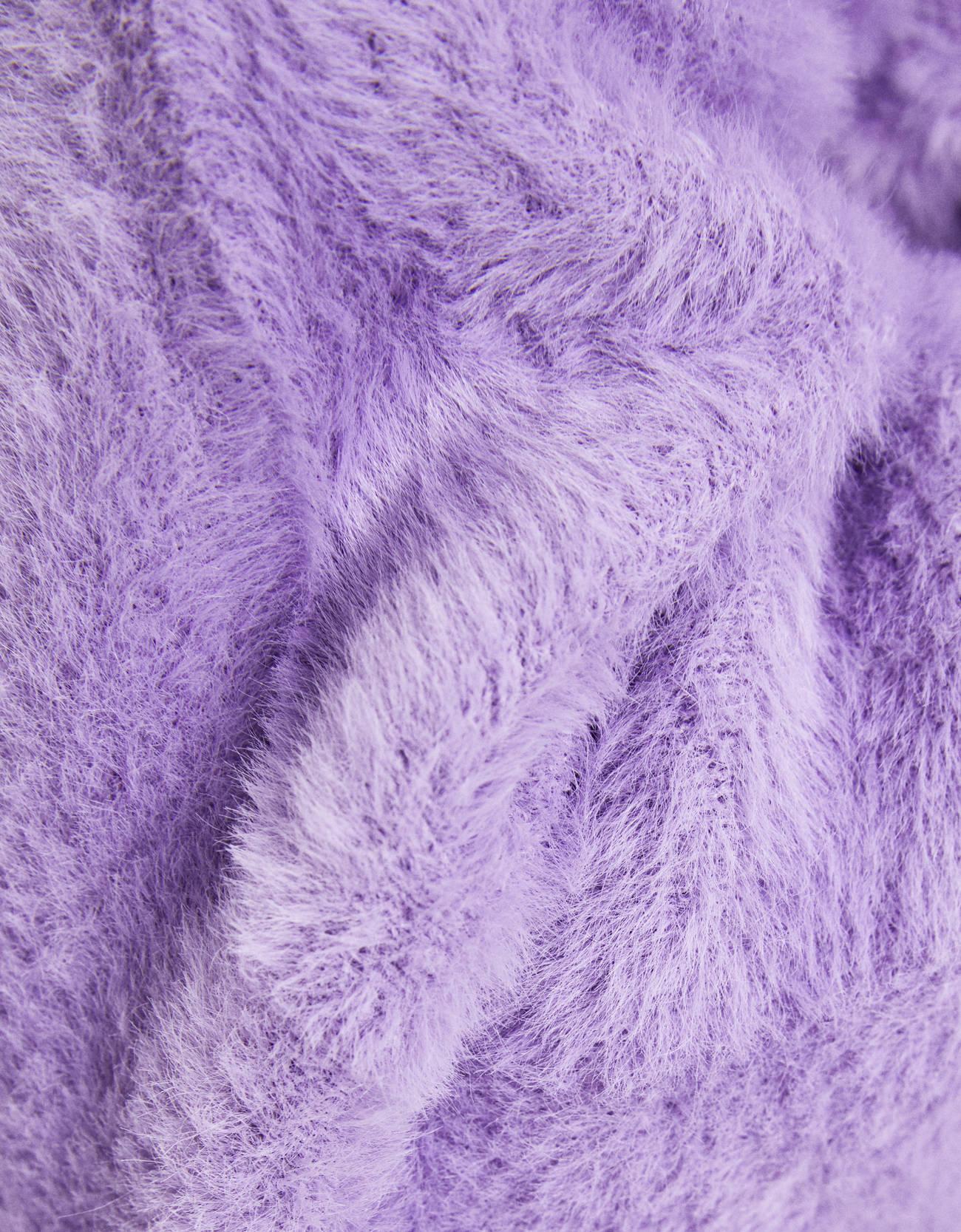 Кардиган из пушистой ткани с застежкой на пуговицы Фиолетовый Bershka