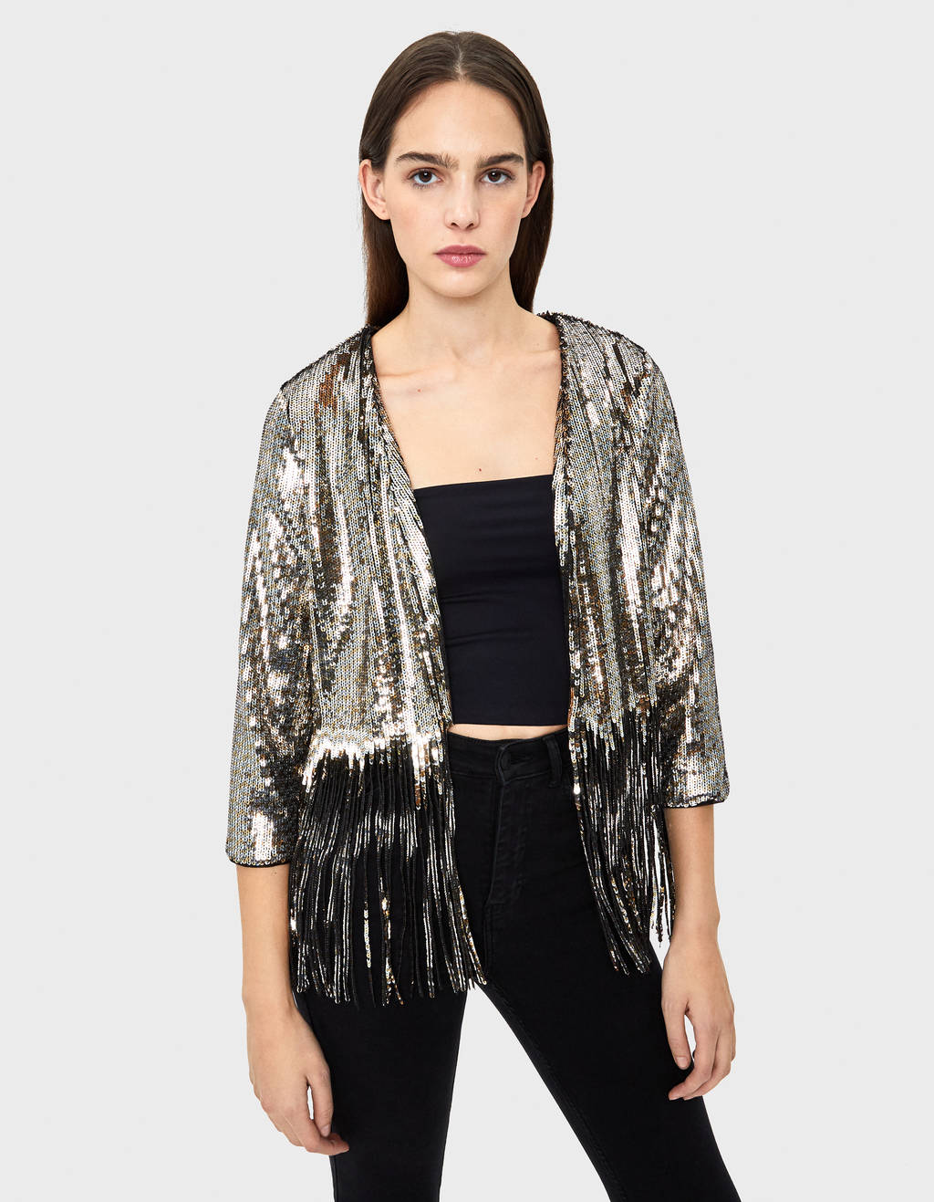 Jacket with sequins and fringe