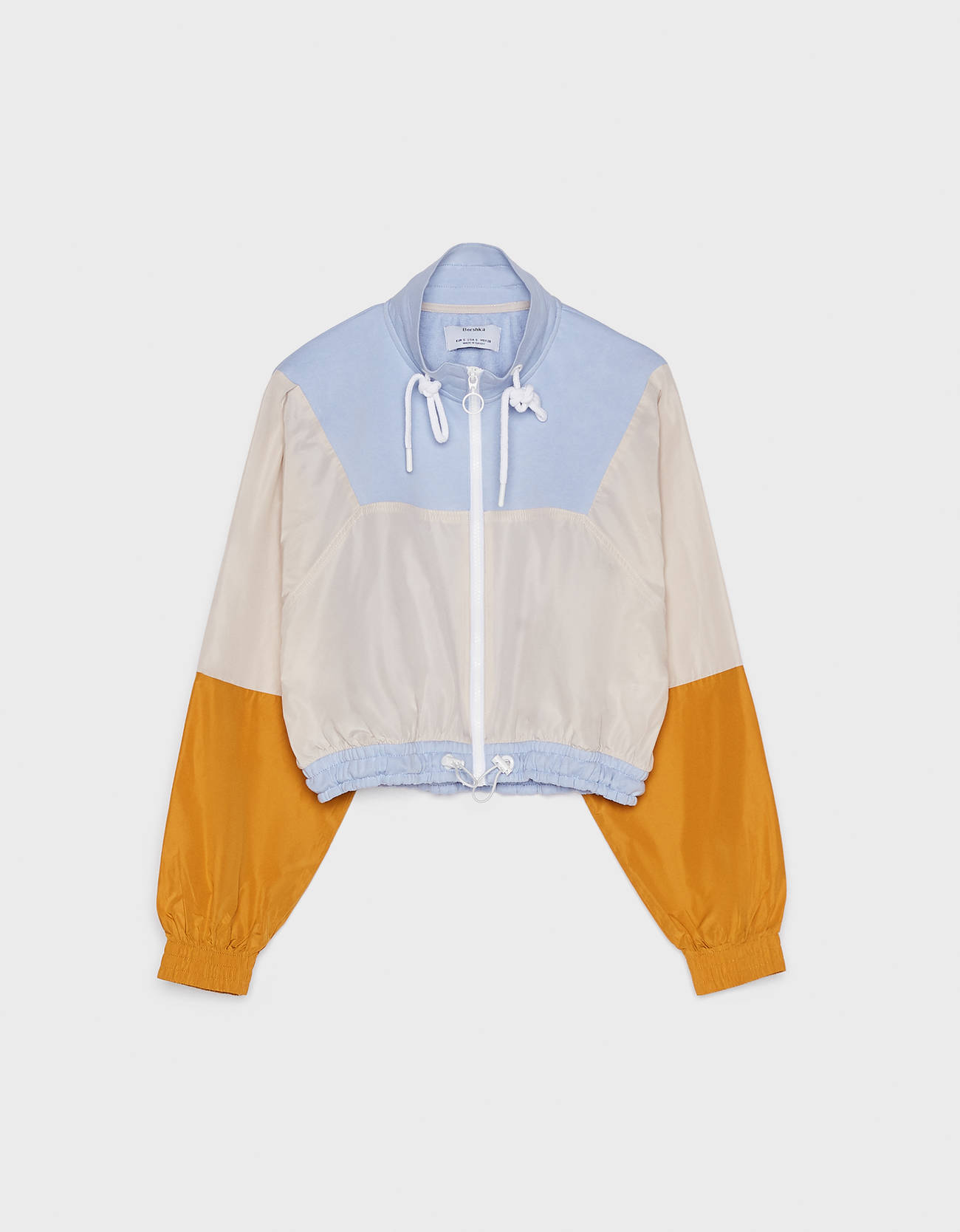 Разноцветная куртка с карманом в стиле худи СИНИЙ Bershka