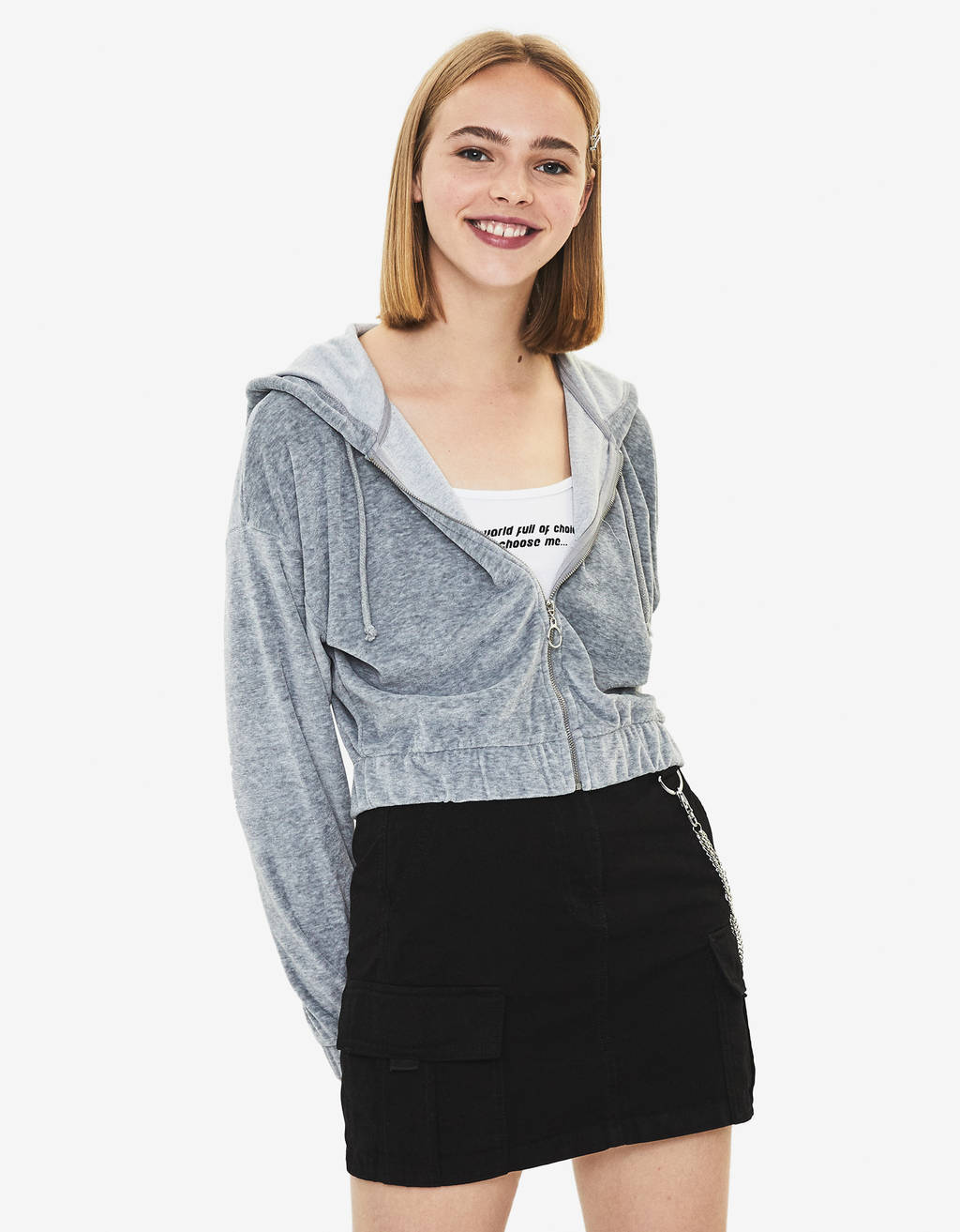 Cardigan cropped en velours