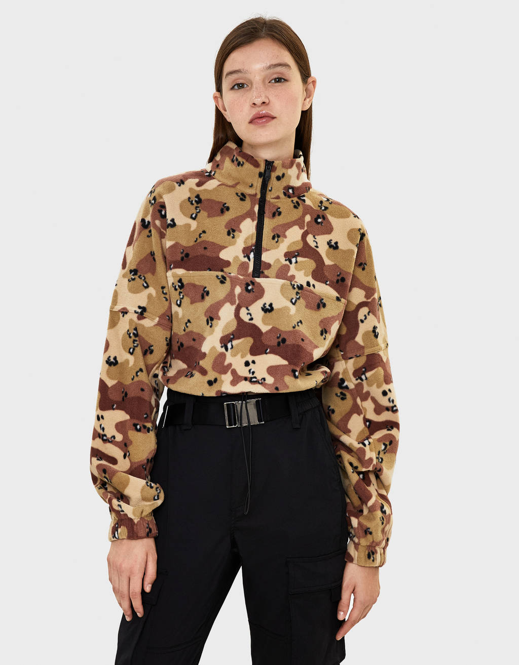 Camouflage print fleece sweatshirt